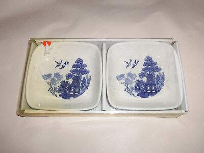 PAIR Johnson Brothers Blue Willow Fine Porcelain Dipping Bowl Candy Dish (NEW)