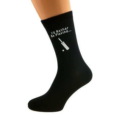 I'd Rather be Playing Cricket with Bat Image Printed Mens Black Cotton Socks