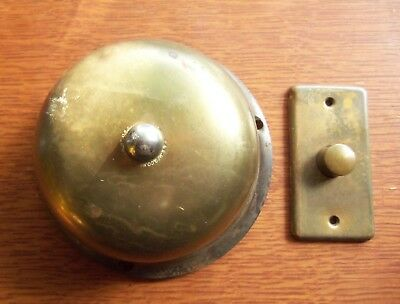 Antique Large Mechanical Doorbell & Push Button  c1890 Russell & Erwin - Unusual