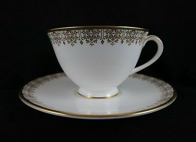 Royal Doulton Gold Lace Footed Tea Cup Saucer Set English Fine Bone China 4989