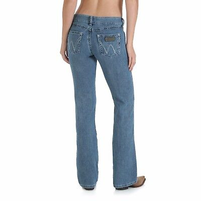 3237b978 Ladies WRANGLER MAE Stretch Premium Patch boot cut 09MWZSN stonewashed jean