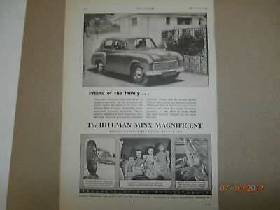 Hillman Minx Magnificent   Original 1949 advert