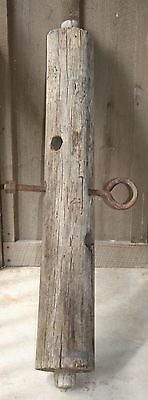 Antique 1890 Worm Hole Wood Barn Post Section With Iron Eye Bolt & Mortise Ends
