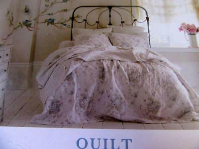 Simply Shabby Chic KING QUILT Tiny Blue White Cottage SHADOW ROSE Rachel Ashwell