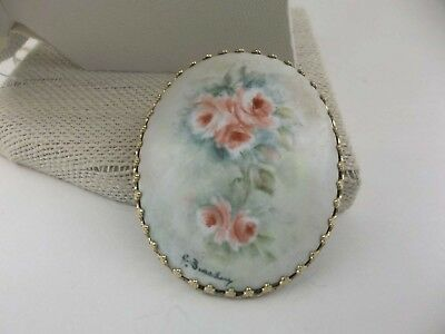 Vintage Brooch Painted Porcelain Floral Gold Tone Pin Signed by Artist J Beasley