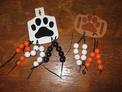 Boy Scouts BSA Cub Scout Beads White Plastic and Leather Tan