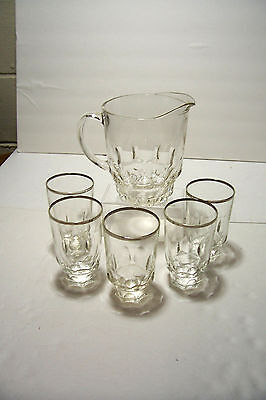 Vintage Thumbprint Continental Canning Co Glass Pitcher And Silver Rim Tumblers