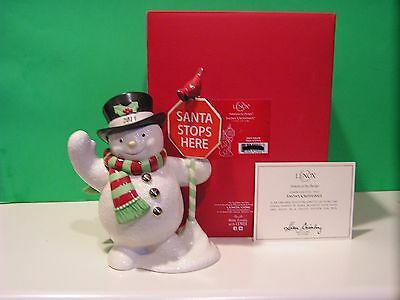 LENOX 2014 SNOWY CROSSINGS SNOWMAN sculpture NEW in BOX with COA