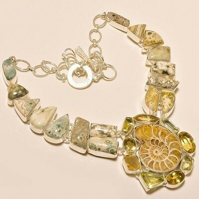 115 Gm Natural Ocean Jasper ,ammonite Fossil Handcrafted Jewelry Necklace Ss-590