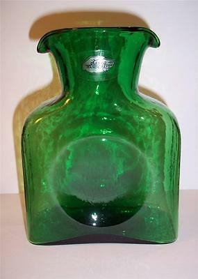 "New! Blenko Glass Mini Water Jug In ""clover"" Green Caraffe Two Spouts Pitcher"