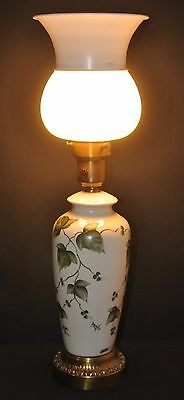 Vintage Porcelain Torchiere Table Lamp w Glass and Metal Diffuser-Check this out