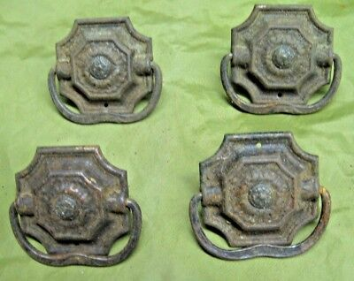 "Set of 4 Antique Drawer Pulls 1 9/16"" wide Iron Ornate Victorian"