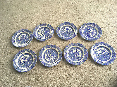 """SET of 8 BLUE WILLOW Pottery DESSERT PLATES 7""""  Kane Ind English Ironstone plate"""