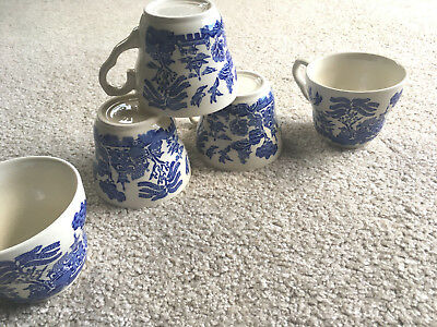 SET of 5 BLUE WILLOW Pottery COFFEE Tea CUPS Mugs Kane Ind English Ironstone