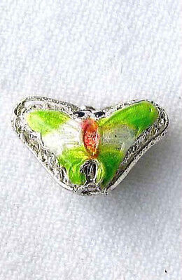 This is for 5 SPRING GREEN! CLOISONNE Butterfly PENDANT Beads 008635A