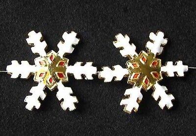 TWO GOLDEN CLOISONNE Snowflake CENTERPIECE Beads 8638H