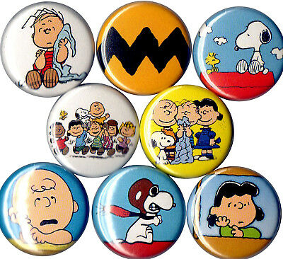 set of 8 Peanuts Gang pins buttons charlie brown lucy linus snoopy woodstock