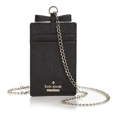 Kate Spade CAMERON STREET LANYARD Bow Card Case Leather Chain necklace ~NWT $58~