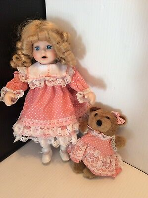 "Sweet Porcelain 12"" Girl Doll Blonde Hair Peach Dress W/ Matching Plush 6"" Bear"