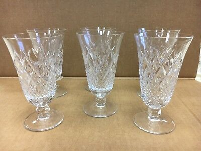 "American Brilliant Cut Glass Water Glasses Vintage Set of 6 Matching 6"" Tall"