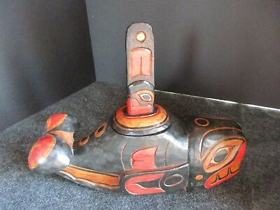 Northwest Coast Ceremonial Whale Bowl, Hand Carved & Painted W/lid     Wy-01712