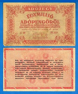 Hungary P-140a 1,000,000 Adopengo Year 1946 Circulated Banknote