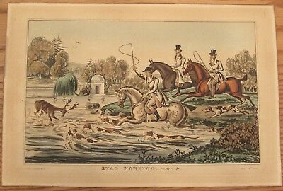 Antique print Stag Hunting Plate 1836 hand colored engraving river hunt scene