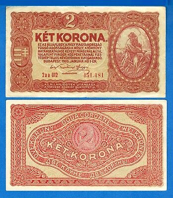 Hungary P-58 2 Korona Year 1920 Circulated Banknote Europe