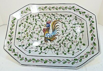 TSFbx PORTUGAL ART POTTERY HAND PAINTED ROOSTER PLATTER, chip