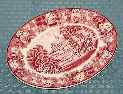 """Early Wood & Sons Eng Ironstone English Scenery Pink 10"""" Oval Serving Platter"""