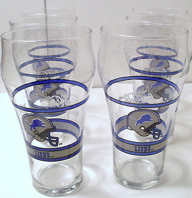 "Set Of Six Rare Vintage Detroit Lions Nfl Coca Cola Glasses! ""really Sweet"" Wow!"