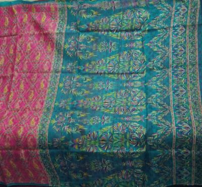 Hard To find 5 Yards Vintage 100% Pure Real Silk Fabric Printed Sari Saree