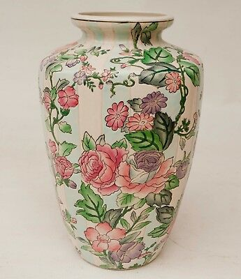 Large Chinese Vase Hand Painted Porcelain Floral Striped 12 1/2'' Tall