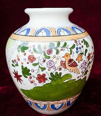 "Large Chinese Hand-painted Porcelain Vase Floral Birds Naive 9 1/2"" TALL"