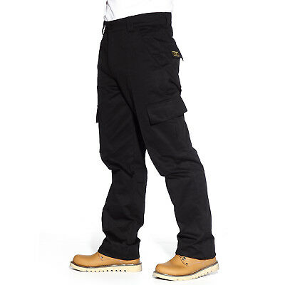 Mens Work Construction Pocket Cargo Combat Trousers Pants Long Black