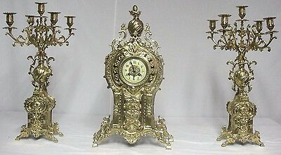 115 Antique Bronze Gilded French Three Piece Mantel Calabra And Clock Set.