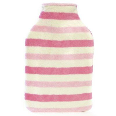 Kids Quality Soft Striped Print Fleece Covered Natural Rubber Hot Water Bottle
