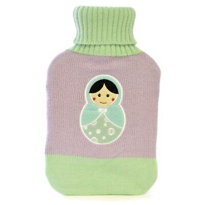 Kids Doll Embroidered Two-Tone Knit Covered Natural Rubber Hot Water Bottle