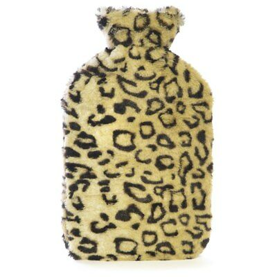 Kids Quality Soft Leopard Plush Faux Fur Covered Natural Rubber Hot Water Bottle