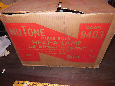 NOS NuTone three bulb heat a lamp built in infra red ceiling Mid Century modern