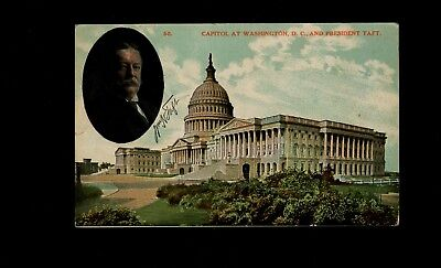 1910 US Capitol postcard w/ William Howard Taft photo used from Mandeville GA