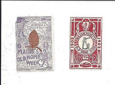 Old Home Week Souvenir Poster Stamps (1900 Maine, 1902 Massachusetts)
