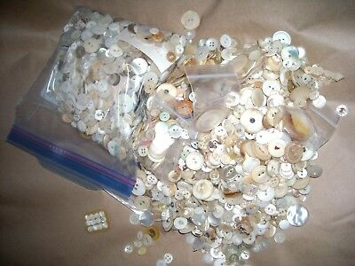 Huge 4.5 lbs lot Vintage/Antique Mother of Pearl MOP Shell Buttons Dyed Smokey