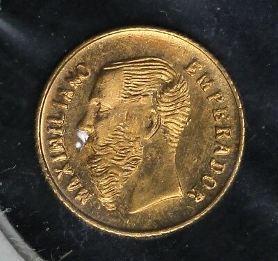 1865 Emperor Maximiliano Imperio Mexicano Solid 22KT Gold Novelty Token
