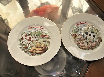 Pair Gilded Side Plates For Cheese Limoges China Emmenthal & Reblochon Cows