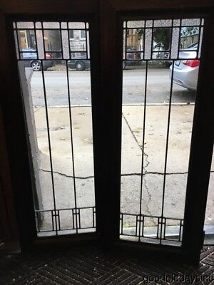 Antique Arts & Crafts Leaded Glass Cabinet Doors / Window Circa 1910