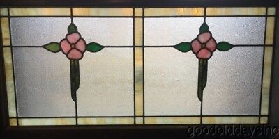 "Antique 1920's Chicago Bungalow Stained Leaded Glass Transom Window 44"" x 23"""