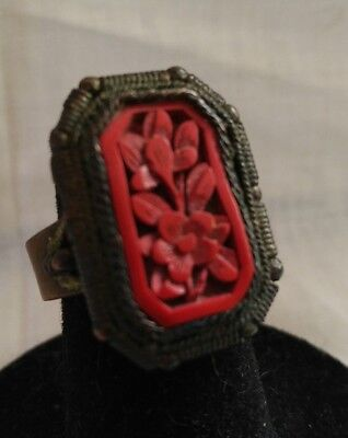 Chinese Export Cinnabar Adjustable Ring Vintage