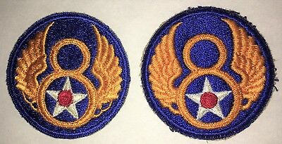 (2) Two Original WWII US Army Air Corps 8th Air Force Shoulder Patches