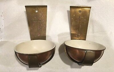 Antique Vintage Brass & Copper Holy Water Font Wall Hanging Catholic Bowls Font
